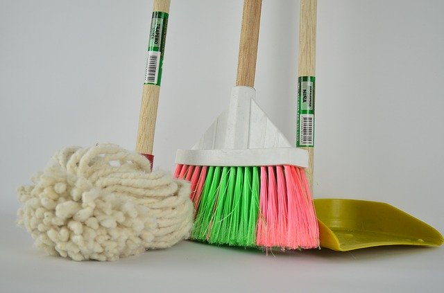Spring Cleaning Supplies - Broom, Mop, Dust Pan